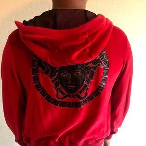 Versace Medusa Velvet red men's hoodie jacket XS
